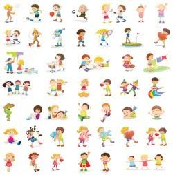 Cartoon boys and girls vector