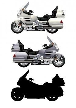 Cartoon motorcycle silhouette vector