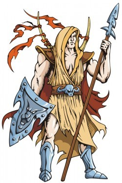 Cartoon warrior holding a spear shield vector