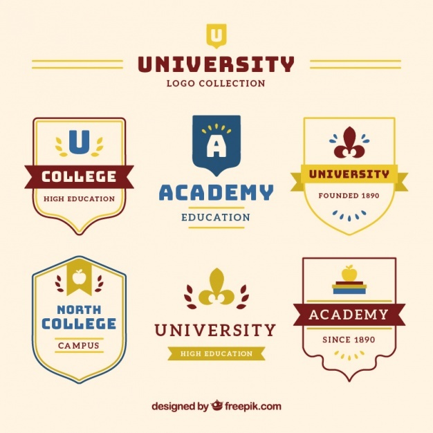 Collection of badges university in elegant style Vector | Free Download