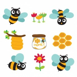 Coloured bees and honey designs Vector | Free Download