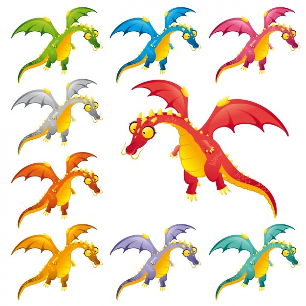 Coloured dinosaurs collection Vector | Free Download