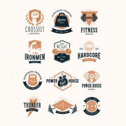 Coloured fitness logo collection Vector | Premium Download