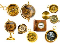 Compass and globe picture material