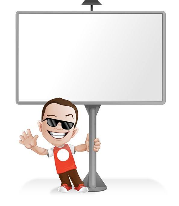 Cool Vector Boy Standing by a Billboard – Vector Characters