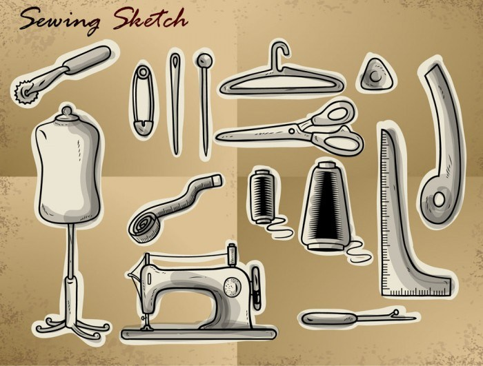 Creative Sewing Supplies icon vector