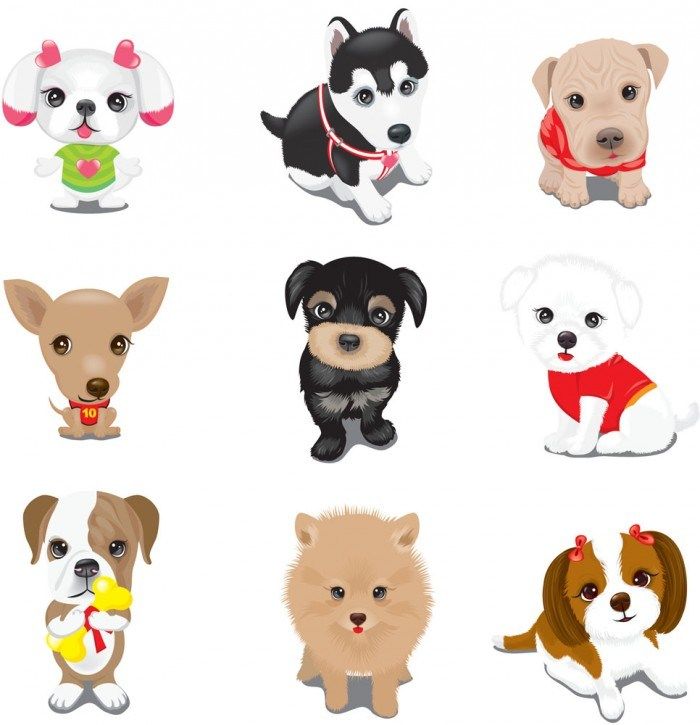 Cute cartoon puppy vector