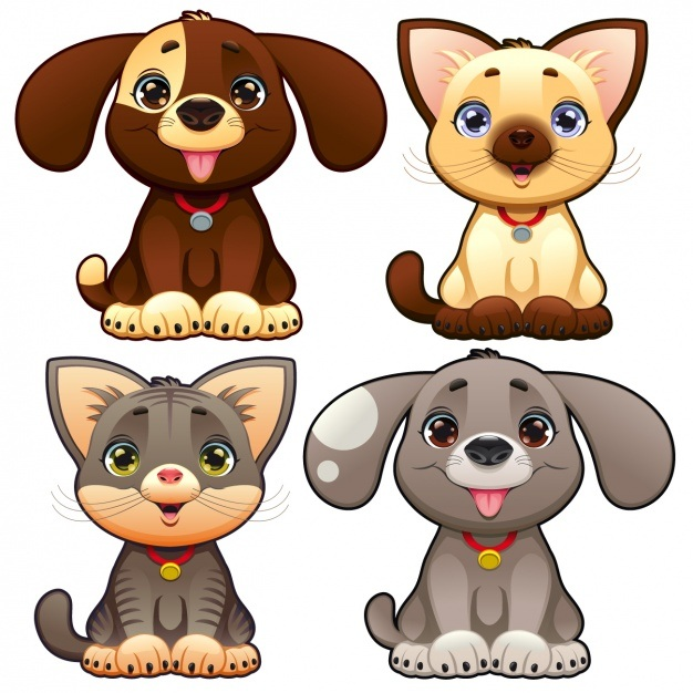 Cute pets collection Vector | Free Download