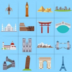 Different monuments on a blue background Vector | Free Download