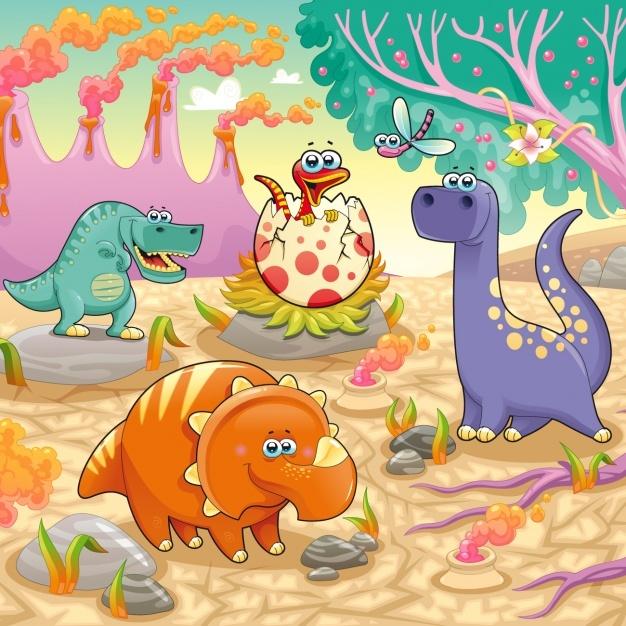 Dinosaurs background design Vector | Free Download