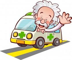 Doctor ambulance waving vector