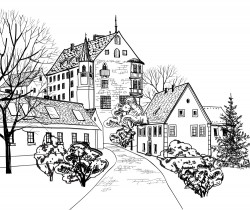 European-style streets and buildings illustration vector