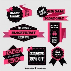 Fantastic badges and ribbons for black friday Vector | Premium Download