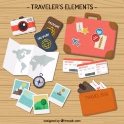 Flat Traveler Elements Pack Vector | Premium Download