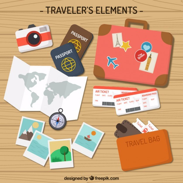 Flat Traveler Elements Pack Vector | Premium Download