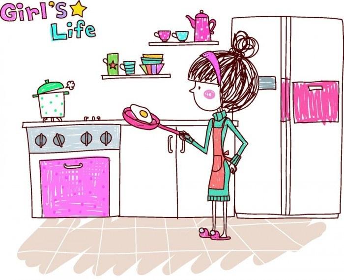 Fried eggs cartoon girl vector – Female Woman – Vector People