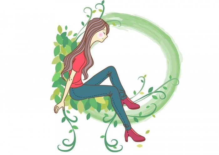 Girl Vectors sitting on a wreath – Female Woman – Vector People