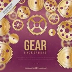 Golden gears with purple background Vector | Premium Download