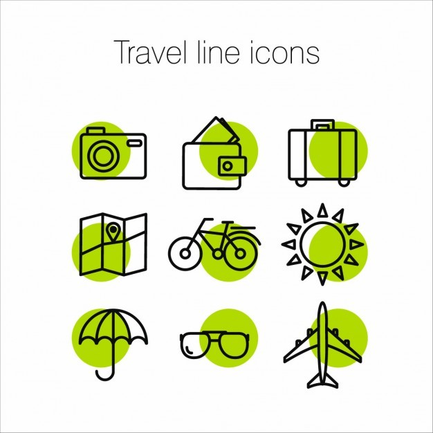 Green icons about travel Vector | Free Download