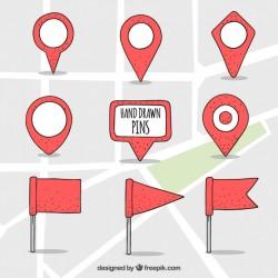 hand drawn map pointers set Vector | Premium Download