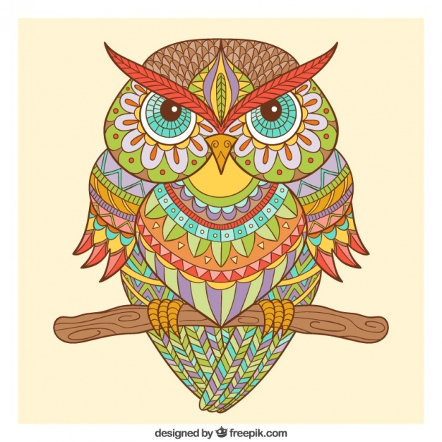 Hand drawn ornamental owl in ethnic style Vector | Free Download