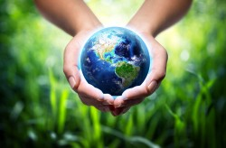 Hands holding the earth picture material