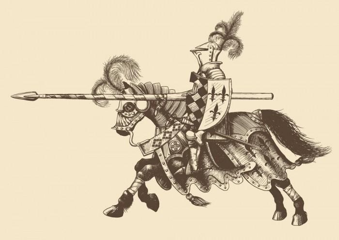Horse armor knight illustration vector