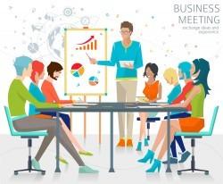 Lecture meeting business men vector