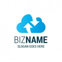 Logo with a blue cloud and two arrows Vector | Free Download