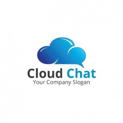 Logo with a bright blue cloud Vector | Free Download