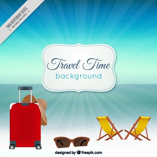 Luggage with accessories in front of the sea Vector | Premium Download