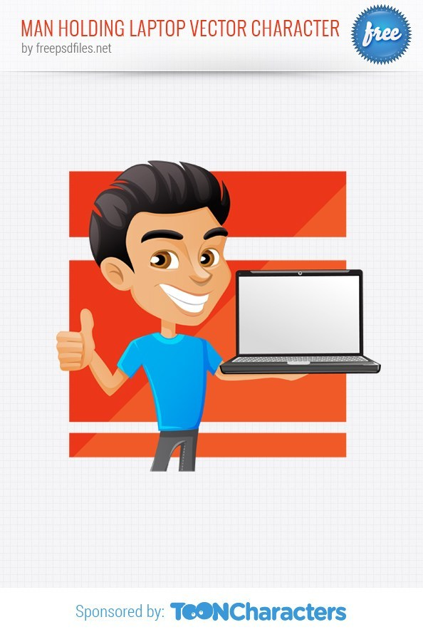 Man Holding Laptop Vector Character – Vector Characters