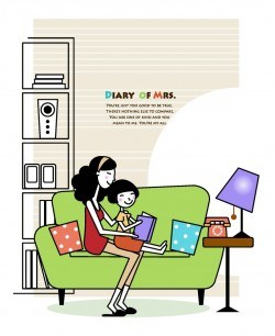 Mom taught the little girl on the couch reading a book vector