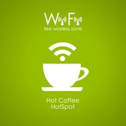 Mug wireless network design vector under the green background