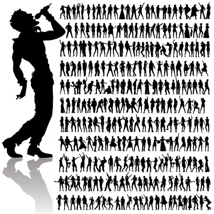Music silhouette figures vector