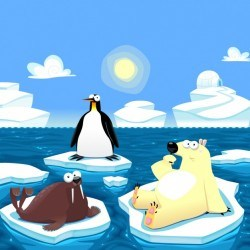 North pole animals background Vector | Free Download