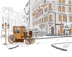 Paris streets carriage vector
