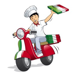 Pizza delivery man illustration vector
