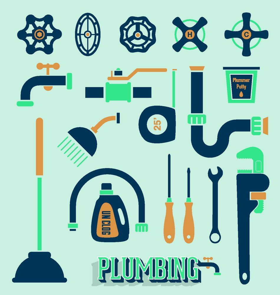 Plumbing tools icon vector