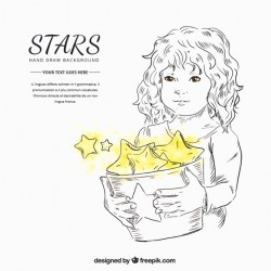Pretty girl holding a bucket with yellow stars Vector | Free Download