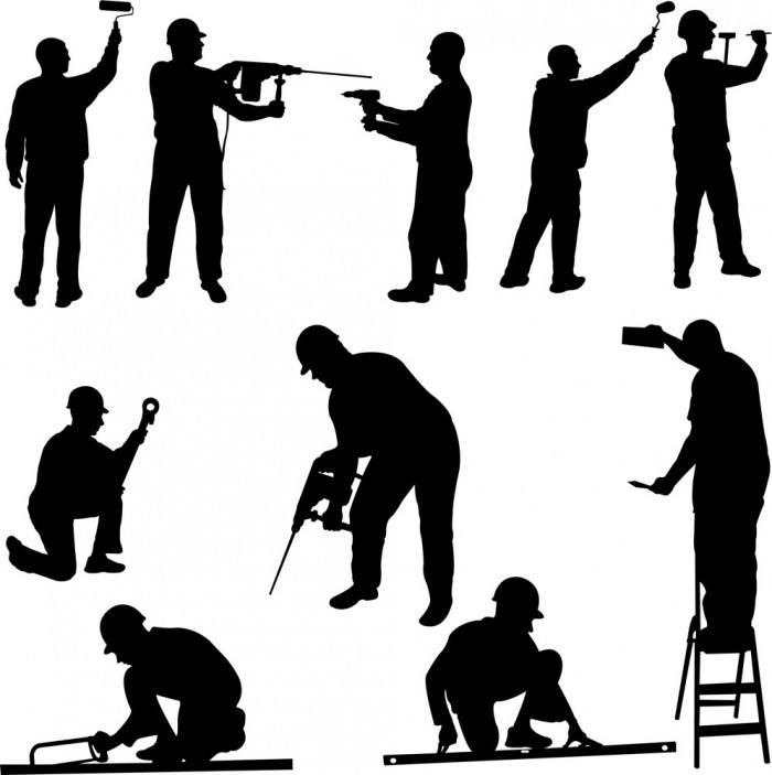 Renovation workers silhouette figures vector