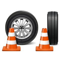 Roadblocks and tire vector
