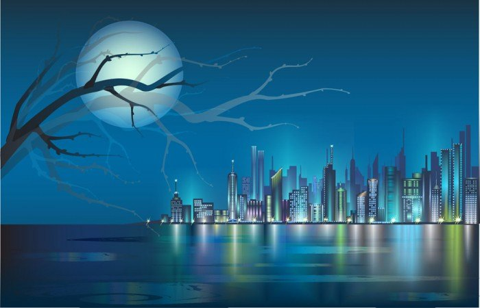Seaside city background material vector