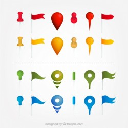 Selection of map pointers with different colors Vector | Free Download