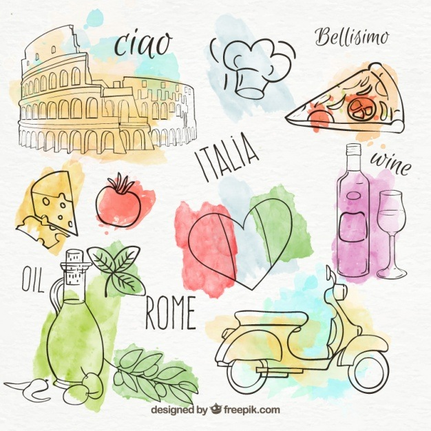Set of hand-painted italian products Vector   Free Download