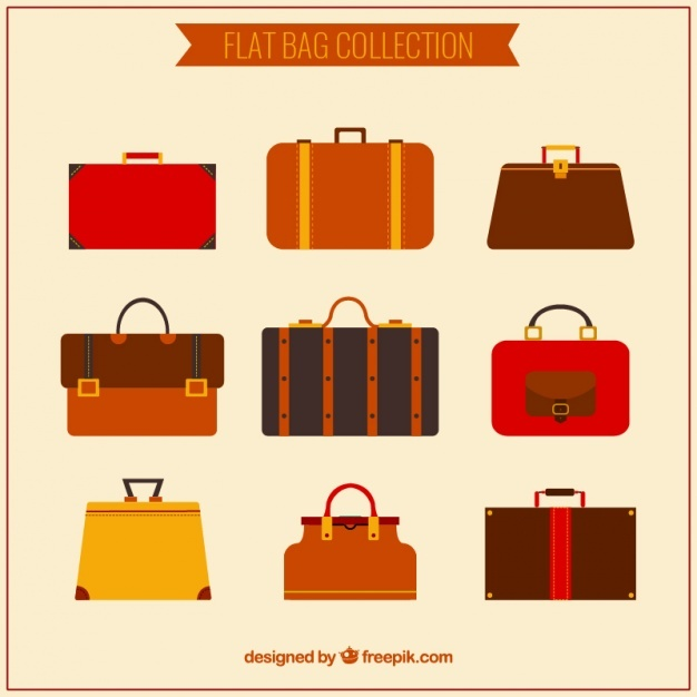Several types of flat briefcases in brown tones Vector | Free Download