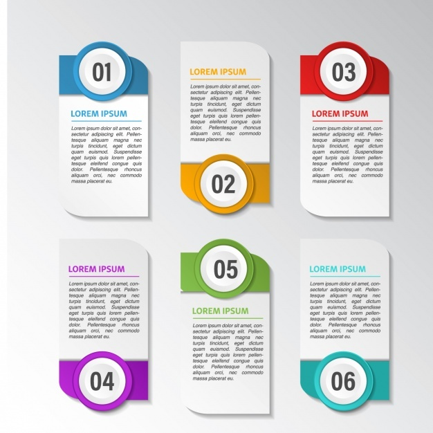 Six banners with options for an infographic Vector | Free Download