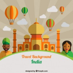 Taj mahal in flat design with indian people and ballons background Vector   Premium Download
