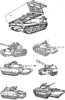 Tanks line drawing vector diagram