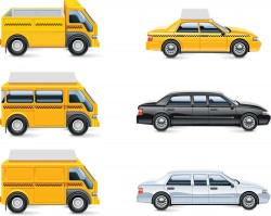 Taxi cars and vans vector